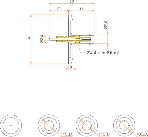 同軸 5kV-BNC-R 4個付き NW/KF40 フランジ 寸法画像