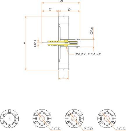 同軸 5kV-BNC-R 3個付き ICF70 フランジ 寸法画像