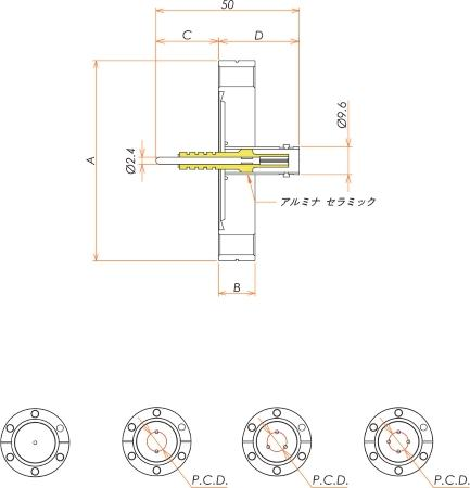 同軸 5kV-BNC-R 4個付き ICF70 フランジ 寸法画像