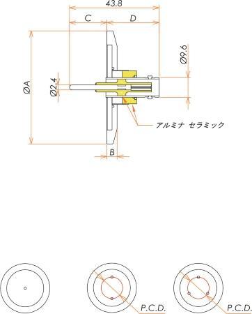 同軸 BNC-R-F 3個付き NW/KF40 フランジ 寸法画像