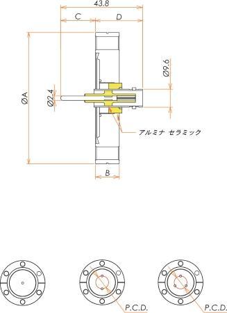 同軸 BNC-R-F 3個付き ICF70 フランジ 寸法画像