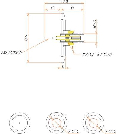 同軸 BNC-R-F-M2 3個付き NW/KF40 フランジ 寸法画像