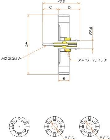 同軸 BNC-R-F-M2 1個付き ICF34 フランジ 寸法画像