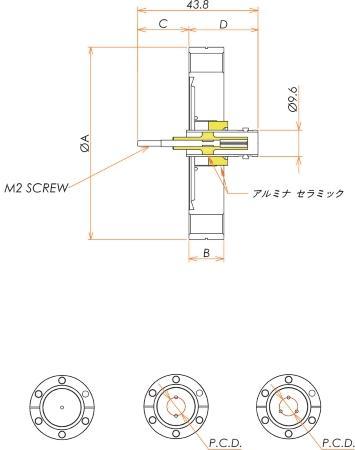 同軸 BNC-R-F-M2 3個付き ICF70 フランジ 寸法画像