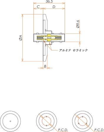 同軸 BNC-JJ 1個付き NW/KF16 フランジ 寸法画像