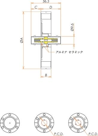 同軸 BNC-JJ 1個付き ICF70 フランジ 寸法画像