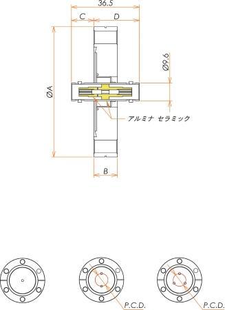同軸 BNC-JJ 3個付き ICF70 フランジ 寸法画像
