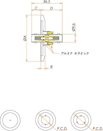 同軸 BNC-JJ-F 1個付き NW/KF25 フランジ 寸法画像