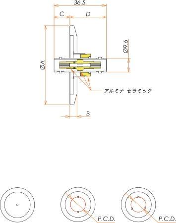 同軸 BNC-JJ-F 3個付き NW/KF40 フランジ 寸法画像