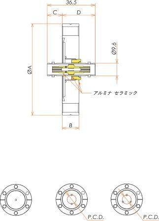同軸 BNC-JJ-F 3個付き ICF70 フランジ 寸法画像