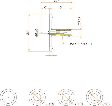同軸 SHV-R 4個付き NW/KF40 フランジ 寸法画像