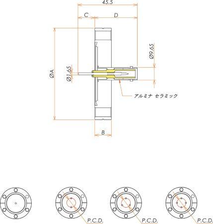 同軸 SHV-R 3個付き ICF70 フランジ 寸法画像
