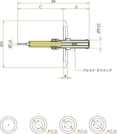 同軸 10kV-SHV-R 4個付き NW/KF40 フランジ 寸法画像