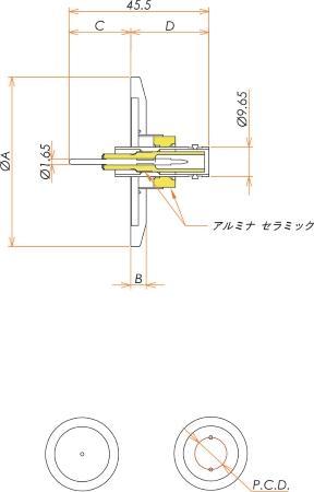 同軸 SHV-R-F 1個付き NW/KF16 フランジ 寸法画像