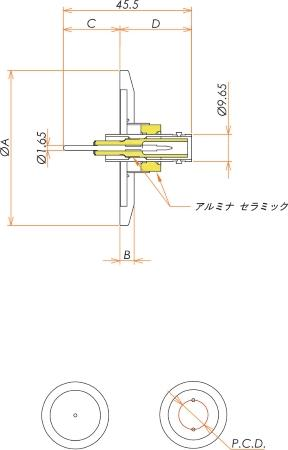 同軸 SHV-R-F 2個付き NW/KF40 フランジ 寸法画像