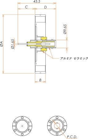 同軸 SHV-R-F 2個付き ICF70 フランジ 寸法画像