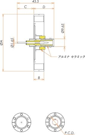 同軸 SHV-R-F 1個付き ICF34 フランジ 寸法画像