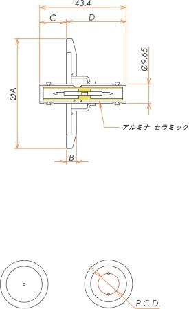 同軸 SHV-JJ 1個付き NW/KF25 フランジ 寸法画像
