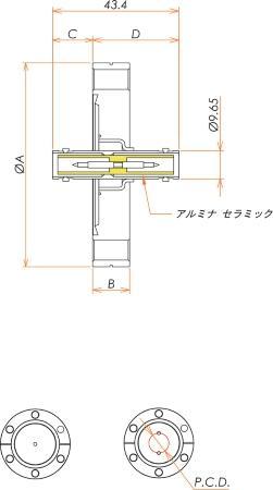 同軸 SHV-JJ 2個付き ICF70 フランジ 寸法画像