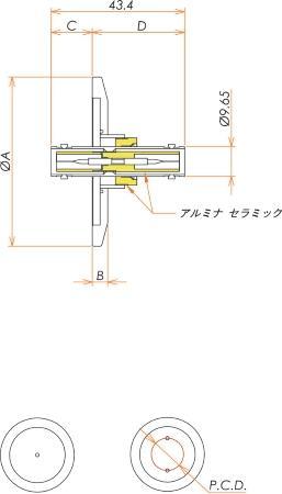 同軸 SHV-JJ-F 2個付き NW/KF40 フランジ 寸法画像