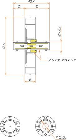 同軸 SHV-JJ-F 2個付き ICF70 フランジ 寸法画像