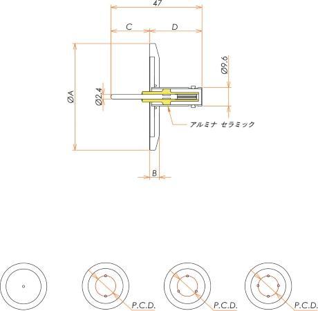 同軸 MHV-R 3個付き NW/KF40 フランジ 寸法画像