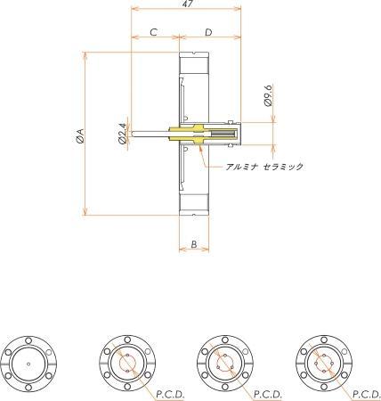 同軸 MHV-R 4個付き ICF70 フランジ 寸法画像