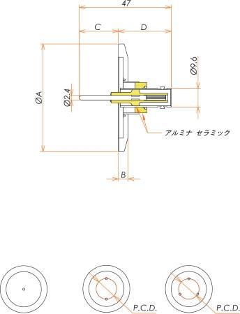 同軸 MHV-R-F 3個付き NW/KF40 フランジ 寸法画像