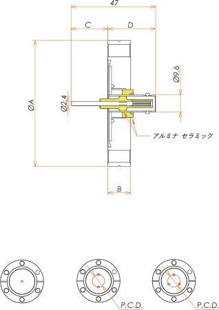 同軸 MHV-R-F 3個付き ICF70 フランジ 寸法画像