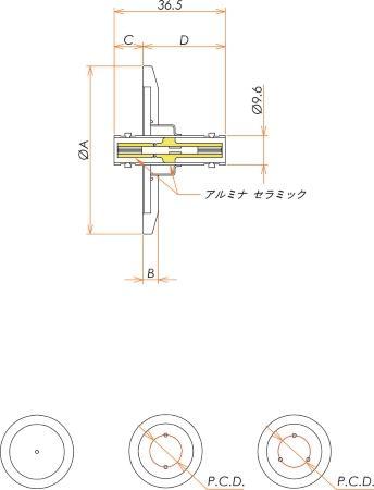 同軸 MHV-JJ 3個付き NW/KF40 フランジ 寸法画像