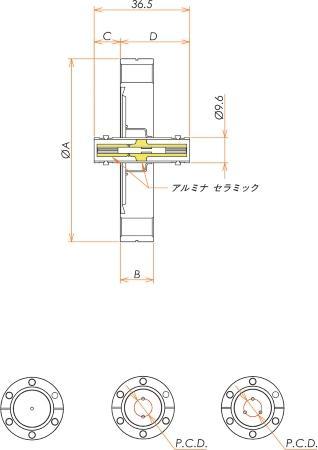 同軸 MHV-JJ 2個付き ICF70 フランジ 寸法画像