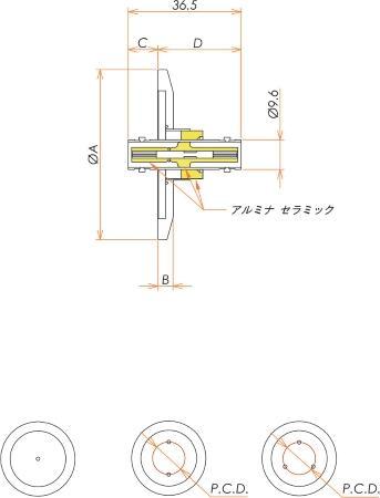 同軸 MHV-JJ-F 3個付き NW/KF40 フランジ 寸法画像