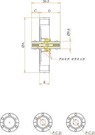 同軸 MHV-JJ-F 3個付き ICF70 フランジ 寸法画像