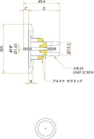 同軸 N-R-F 1個付き NW/KF25 フランジ 寸法画像