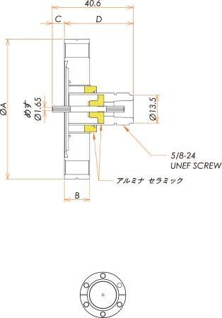 同軸 N-R-F 1個付き ICF70 フランジ 寸法画像