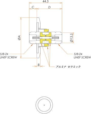 同軸 N-JJ-F 1個付き NW/KF25 フランジ 寸法画像