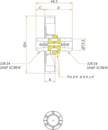 同軸 N-JJ-F 1個付き ICF70 フランジ 寸法画像