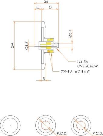 同軸 SMA-R-F 3個付き NW/KF40 フランジ 寸法画像