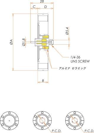 同軸 SMA-R-F 3個付き ICF70 フランジ 寸法画像