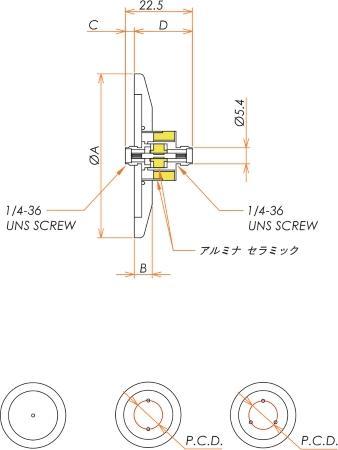 同軸 SMA-JJ-F 3個付き NW/KF40 フランジ 寸法画像
