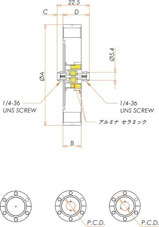 同軸 SMA-JJ-F 1個付き ICF34 フランジ 寸法画像