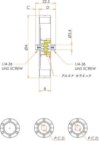 同軸 SMA-JJ-F 3個付き ICF70 フランジ 寸法画像
