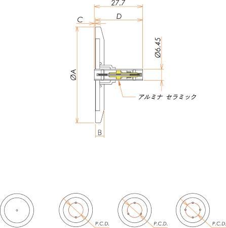 同軸 LEMO-JJ 1個付き NW/KF25 フランジ 寸法画像