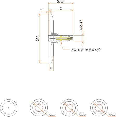 同軸 LEMO-JJ 4個付き NW/KF40 フランジ 寸法画像