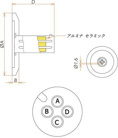 多ピン BURNDY 4 PIN NW/KF25 フランジ ガイド付き セット(耐熱温度250℃) 寸法画像