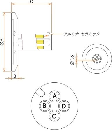 多ピン BURNDY 4 PIN NW/KF40 フランジ ガイド付き セット(耐熱温度250℃) 寸法画像
