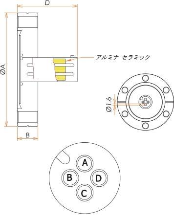 多ピン BURNDY 4 PIN ICF70 フランジ ガイド付き セット(耐熱温度250℃) 寸法画像