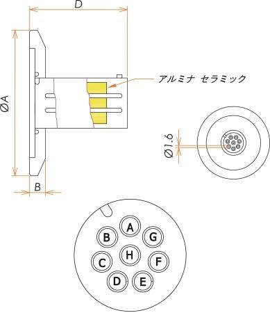 多ピン BURNDY 高電流 8 PIN NW/KF25 フランジ ガイド付き セット(耐熱温度250℃) 寸法画像