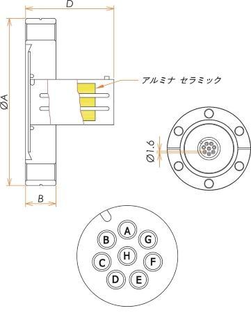 多ピン BURNDY 高電流 8 PIN ICF34 フランジ ガイド付き 寸法画像