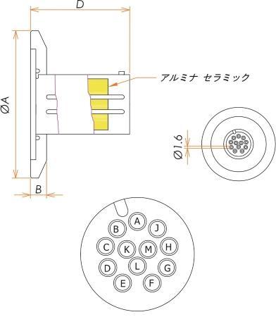 多ピン BURNDY 高電流 12 PIN NW/KF25 フランジ ガイド付き セット(耐熱温度250℃) 寸法画像